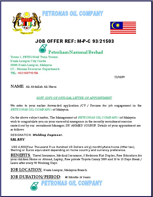 petronas name being used on job offer scam its all in the planning